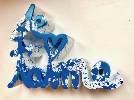 Múltiple Mr. Brainwash - Je t`aime Splash blue sculpture