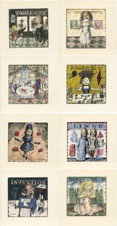 Libro Ilustrado Foujita - Jean Cocteau : LA MÉSANGÈRE (1963). Ex. sur Japon nacré