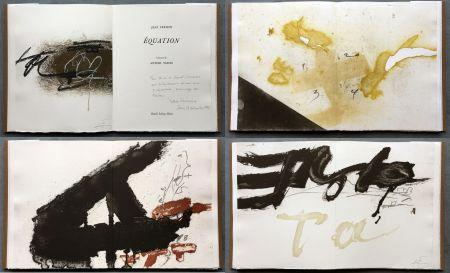 Libro Ilustrado Tàpies - Jean Frémon: ÉQUATION. 5 aquatintes en couleurs dont deux signées (1987)