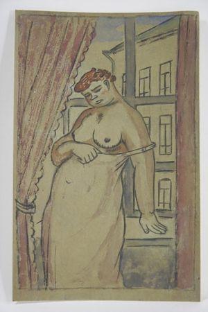 Sin Técnico Lébédeff  - Jean Lébédeff (1884-1972). Femme à la fenêtre. Encre et aquarelle.