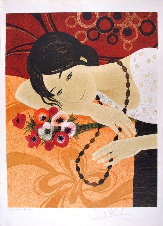 Litografía Ganne - Jeune femme au bouquet