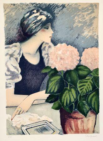 Litografía Cassigneul  - Jeune Femme au Hortensia
