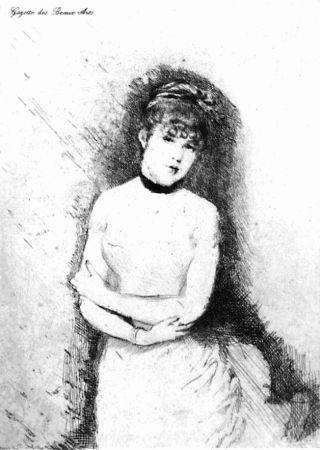 Aguafuerte De Nittis - Jeune femme décolletée
