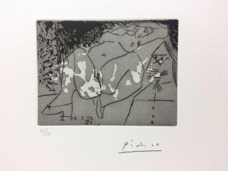 Grabado Picasso - Jeune femme et «mousquetaire». Aquatinte. 1968.