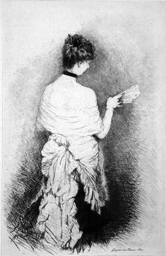 Aguafuerte De Nittis - Jeune femme vue de dos