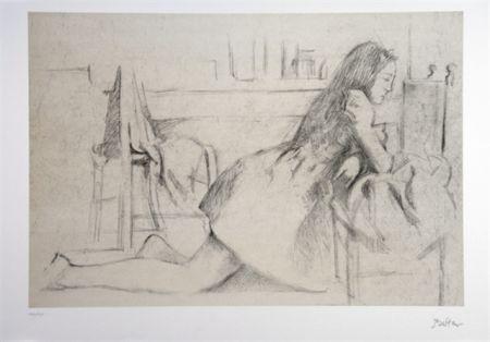 Litografía Balthus - Jeune fille agenouillée