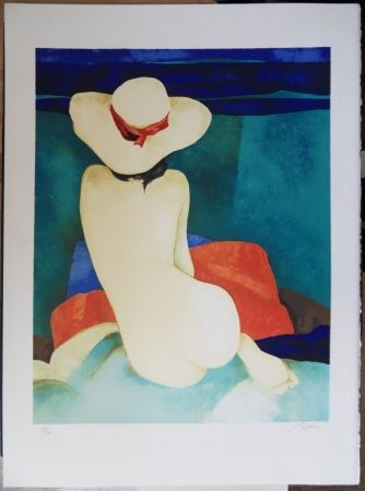 Litografía Gaveau - Jeune fille au chapeau