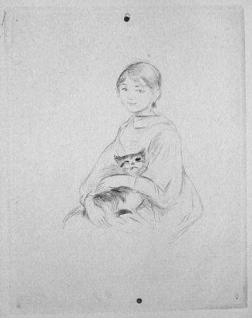 Punta Seca Morisot - Jeune fille au chat