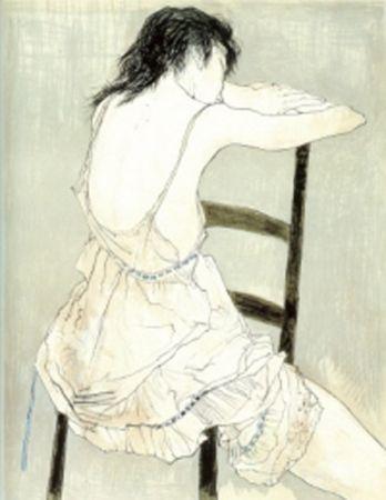 Litografía Jansem - Jeune Fille au Jupon Rose