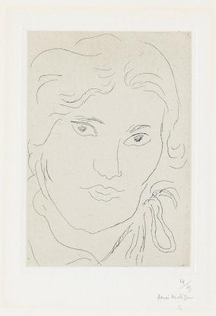 Grabado Matisse - Jeune fille de face, flot de ruban sur l'épaule gauche