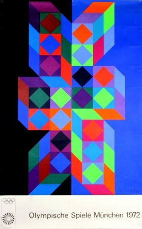 Serigrafía Vasarely - Jeux Olympiques Munich 1972