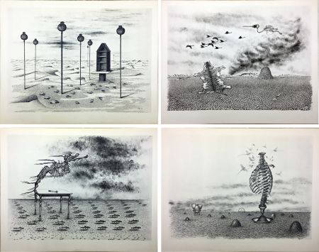 Libro Ilustrado Toyen - Jindrich Heisler : CACHE-TOI GUERRE ! Poème. Cycle de 9 dessins de Toyen de 1944