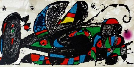 Litografía Miró - Joan Miro - Miró Escultor . Irán 40 X 20 Cm.firmada En Plancha