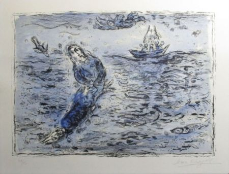 Litografía Chagall - Jonas Sur Fond Bleu