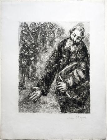 Aguafuerte Chagall - Josué lit les Paroles de la Loi (La Bible. Teriade 1956). Épreuve signée.