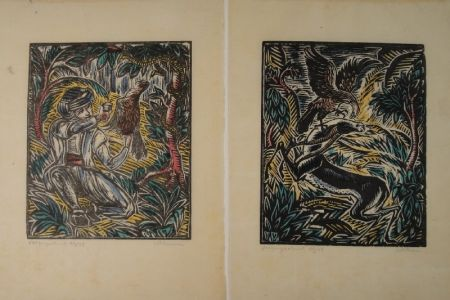 Grabado En Madera Klemm - König Sindibad und sein Falke