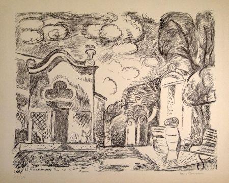 Litografía Purrmann - Kapelle und Brunnen in Levanto