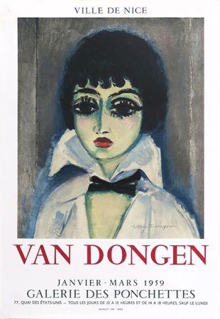 Litografía Van Dongen - Kees Van Dongen (1877-1968). Affiche Galerie des Ponchettes. 1959. Lithographie.