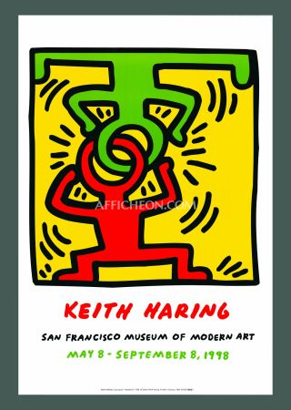 Litografía Haring - Keith Haring 'Headstand' 1998 Plate Signed Original Pop Art Poster with COA