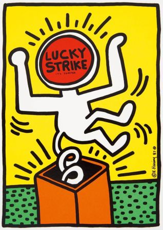 Litografía Haring - Keith Haring 'Lucky Strike II' 1987 Plate Signed Original Pop Art Poster with COA