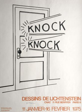 Litografía Lichtenstein - 'Knock Knock' Hand Signed Pop Art Poster Print