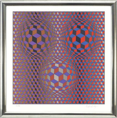Litografía Vasarely - Komposition In Rot Und Violett