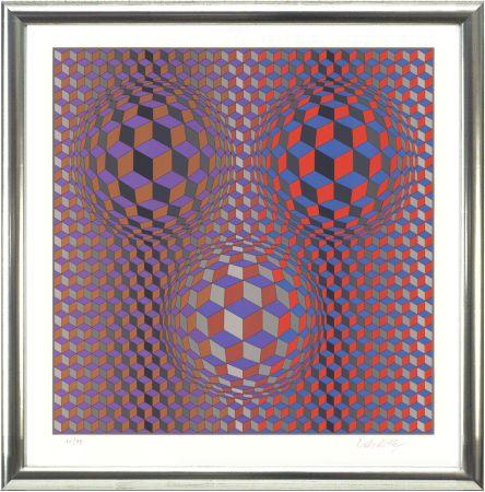 Litografía Vasarely - Komposition in Rot und Violett