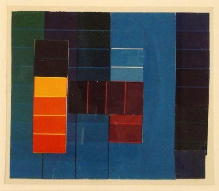 Monotipo Itten - Komposition mit Farbkontrasten aus Blau/Grün/Violett und Rot/Gelb