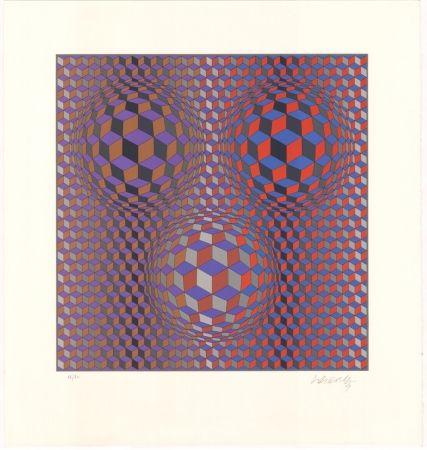 Litografía Vasarely - Konjunktion