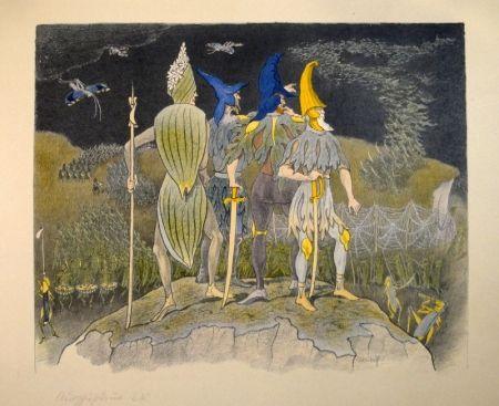 """Litografía Kreidolf - """"Krieg"""" Germer-, Rittersporn, blauer und gelber Eisenhut-Ritter stehen als Feldherren auf einem Hügel über einem vorüberziehenden Heuschrecken-Heer."""