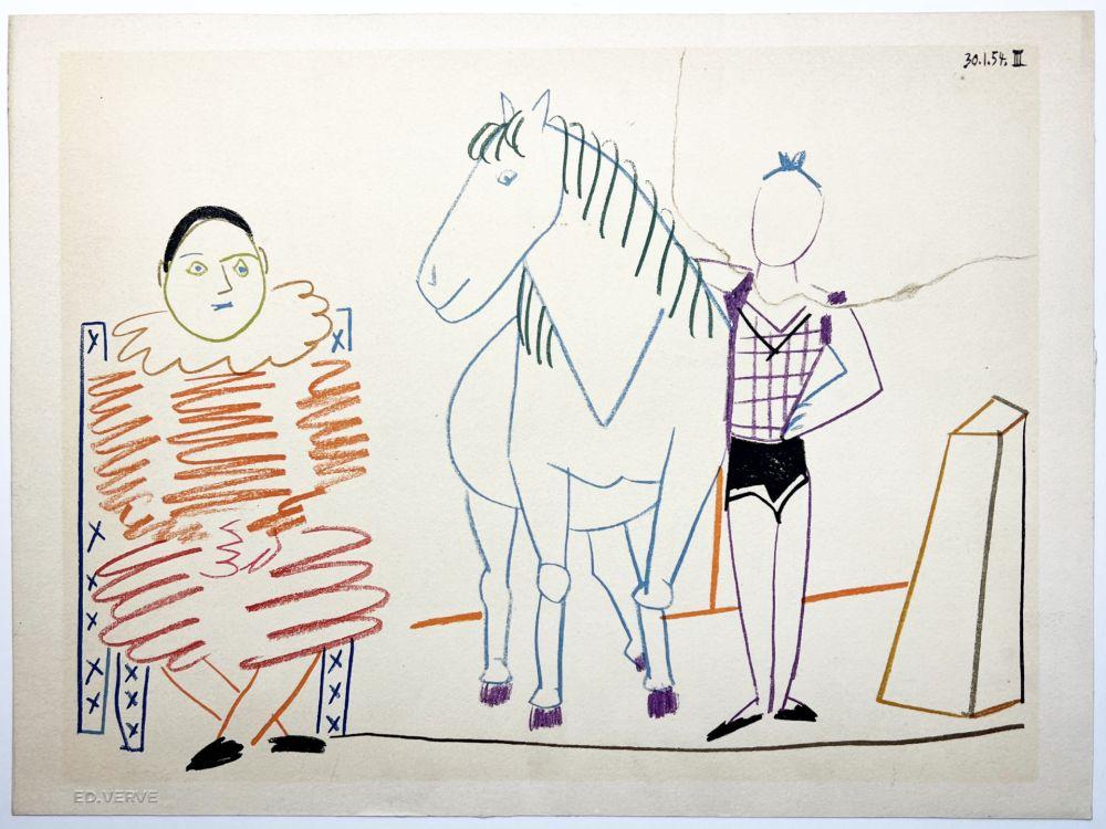 Litografía Picasso - L'écuyère, le cheval et le clown (La Comédie Humaine - Verve 29-30. 1954).