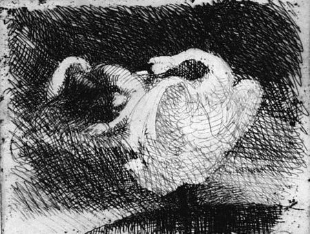 Aguafuerte Besnard - Léda s'endort