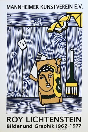 Litografía Lichtenstein - 'Léger Head with Paintbrush' Hand Signed Exhibition Poster