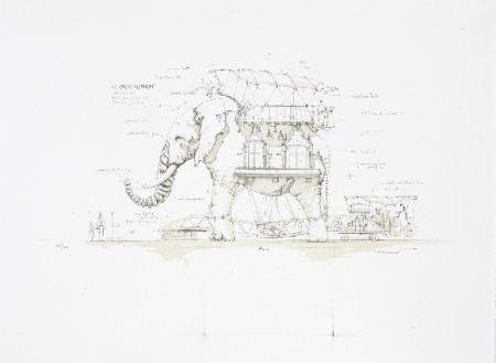 Litografía Delarozière - L'éléphant