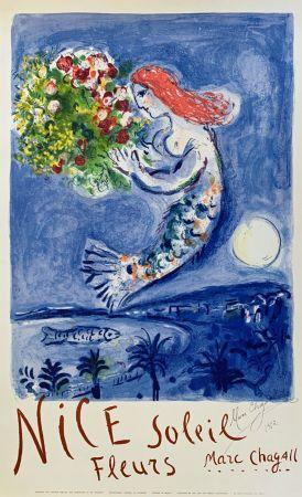 Litografía Chagall - La Baie des Anges (Nice Soleil Fleurs)