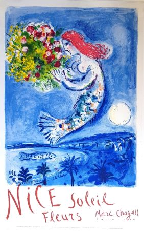 Litografía Chagall - La Baie des Anges Nice Soleil Fleurs