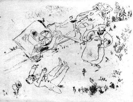 Aguafuerte Chagall - La Britchka S'est Renversée