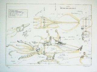 Litografía Delarozière - La Calamar à retropropulsion