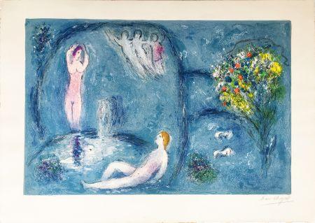 Litografía Chagall - LA CAVERNE DES NYMPHES (Daphnis & Chloé: de la suite à grandes marges) 1961.