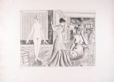 Aguafuerte Delvaux - La Chambre