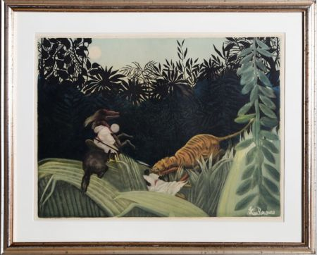 Aguafuerte Y Aguatinta Villon - La Chasse au Tigre after Rousseau