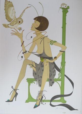 Litografía Noyer - La chouette