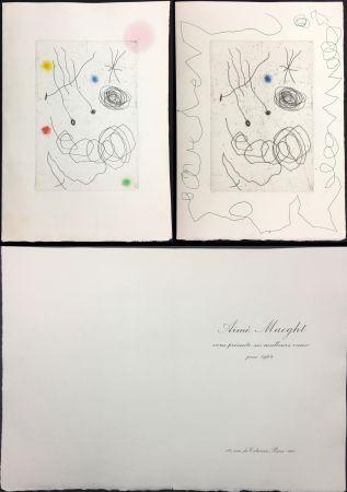 Aguafuerte Y Aguatinta Miró - LA CHOUETTE ET L'ESCARGOT (Maeght, Vœux pour 1964). 2 états.