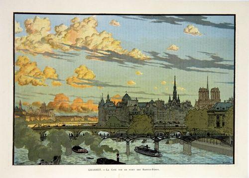 Litografía Grasset - La Cité Vue du Pont des Saint Pères