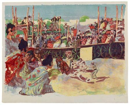 Litografía Lunois - La Corrida:  Une corrida à la campagne (A Country Bullfight)