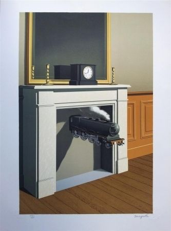 Litografía Magritte - La durée poignardée (Time Transfixed)