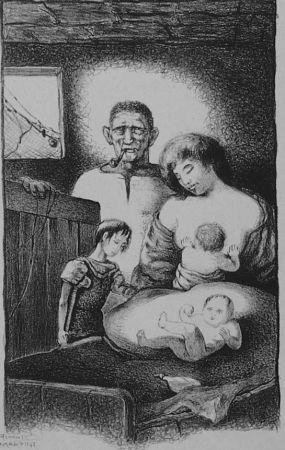 Litografía Martini - La famiglia del pescatore