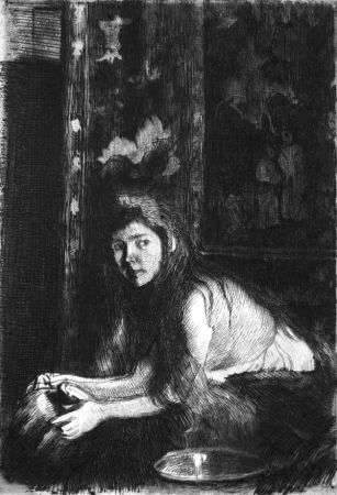 Aguafuerte Besnard - La femme au vase