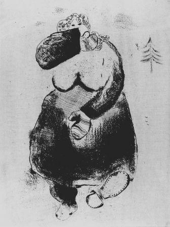 Aguafuerte Chagall - La femme moineau