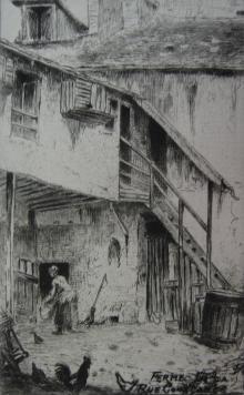 Grabado Delatre - La ferme de la rue Constance